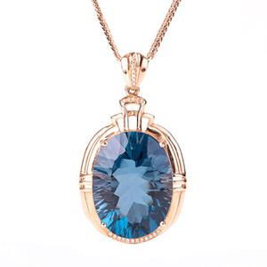 Старинные синий Кристалл топаз аквамарин драгоценные камни бриллианты женщины кулон ожерелья 18k розовое золото цвет колье ювелирные изделия bijoux подарок