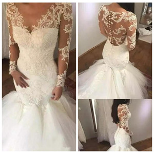 Sheer Maniche Lunghe Slim Mermaid Pizzo Appliques Abiti Da Sposa 2019 Modest Tulle Gonna Abiti Da Sposa Fishtail Vestidos De Mariee A Buon Mercato