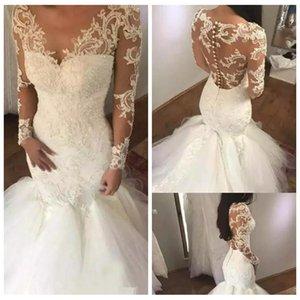 Pura Mangas Compridas Fino Sereia Rendas Apliques De Casamento Vestidos de 2019 Modest Tule Saia Vestidos de Noiva Fishtail Vestidos De Mariee Barato