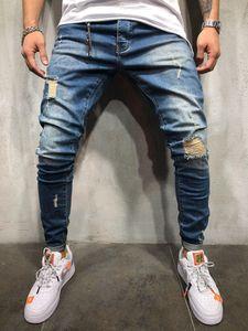 Sommer Dunkelblau Stretch Distressed Pencil Jeans Herrenjeans Skinny Slim Fit Gerade Zerrissene Plissee Knie Loch Denim-Hosen