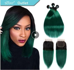 마감 T1B / 녹색 어두운 뿌리 청록색 실크 스트레이트 인간의 머리카락 직조와 함께 3 번들 뭉치와 미리 채색 된 뭉치 번들