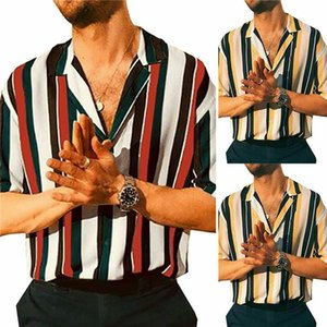 Men Hawaiian Shirts Summer Striped Short Sleeve Casual Loose Shirts Blouse Men Male Slim Fitness Tops Shirt
