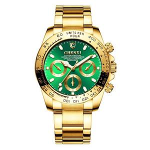 Chenxi Masculino Relógios alta qualidade Quartz Relógio de pulso 001 3 decorativa seletor de ouro moldura de discagem analógica cara de discagem analógica presente Rosto para Homens