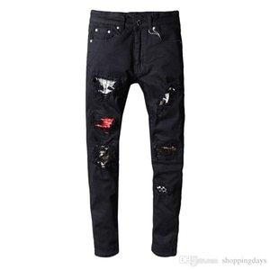 Hommes Jeans Designer Skinny Jeans Rip Distressed Noir Pantalon Slim Denim Homme Motard Hip Hop Jeans Red Patch