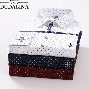 Dudalina pois ricamo maschio della camicia a maniche lunghe maschile sociale maschile slim fit Reserve MX200518