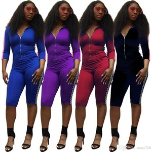 Fashion Popular Element Digital Printing Women Jumpsuits 4 Colors 2020 Zipper V Neck Long Sleeves Skinny Playsuits Knee Length Summer