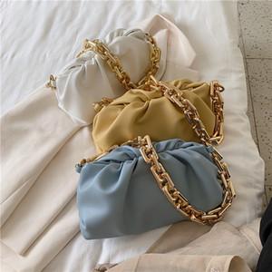clip de la moda las mujeres de concha bolsas de hombro cadenas de diseño de los bolsos de los hobos bolsa de mensajero de cuero suave de la señora de lujo CLUCTH monederos