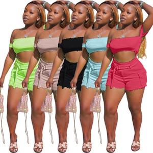 여성 여름 섹시한 2 투피스 의상 세트는 작물의 최고 바지 반바지 운동복 정장 패션 스트리트 의류 조끼 어깨 떨어져 니트