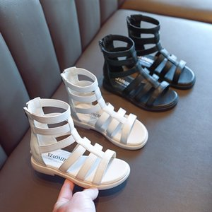 Little Girls Summer Roman Sandals For Kids Children Fashion White Black Princess Boots Shoes New 2020 5 6 8 10 9 12 Years T200703