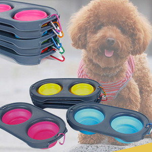 Alimentación plegable Pet Food Bowls Silicone Cat Doble alimentador Bowl Travel Eco Friendly Cat Suministros para perros plegables con mosquetón WX9-1332