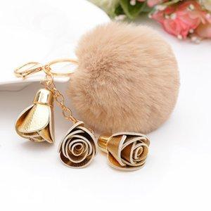 2019 Moda Portachiavi Donna Faux Rabbit Fur Cony Hair Ball Pompon Charm Thrice Flower Borsa a mano Accessori portachiavi