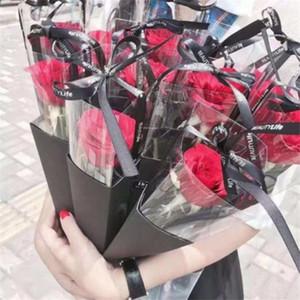 حقائب واحدة زهرة روز صندوق PVC الثلاثي صندوق باقة التغليف البلاستيكية صناديق ورقية عيد الحب للزهور تغليف هدايا
