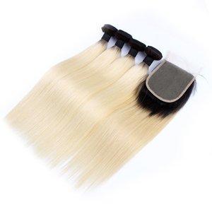KISSHAIR T1B613 faisceaux de cheveux raides avec extension de cheveux fermeture cheveux remy couleur blond vierge européenne brésilienne 5pcs / set