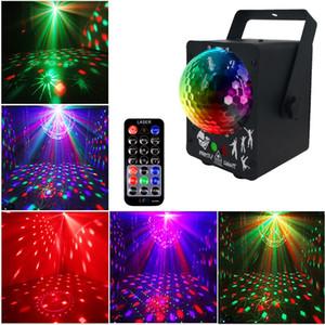 أضواء المرحلة الكرة RGB LED ديسكو ماجيك الكرة مع 60 أنماط RGB عيد الميلاد ليزر العارض DJ حزب عطلة الزفاف بار تأثير الإضاءة