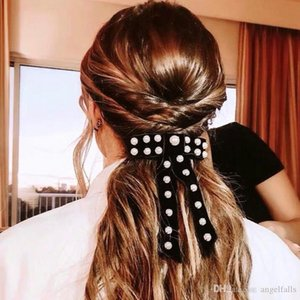 New Arrival Velvet Bowknot Hair Pin Women Pearl Bowknot Barrettes Fashion Hair Accessories for Gift Party High Quality