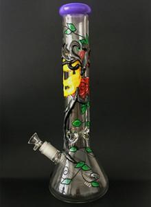 14.6 Inç Borosilikat Cam Beher Sigara Su Borusu 3D Sanat Tasarım ile Büyük Ağız Cam Bong