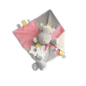 Musique Bébé animal en peluche Apaiser couverture minky hippopotames doux sécurité Couverture Pacify serviette nouveau-né teether Apaisez