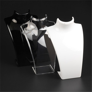 New Fashion Acrílico jóias de exibição 20 * 13,5 * 7.3cm Colares do Modelo Stand Holder White Clear Color Black