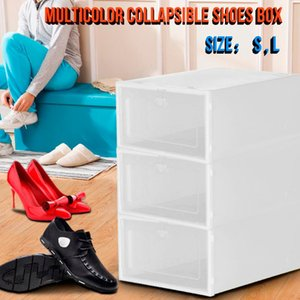3pc Clear Shoes Store Storage Box Thickened Plastic Stackable Shoe Organizer Transparent Drow Case Shoe Rack 2020 hot
