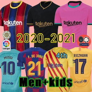 TOP FC BARCELONA كرة القدم جيرسي 20 21 camisetas دي فوتبول أنسو FATI 2020 2021 ميسي GRIEZMANN DE JONG Maillots دي قميص كرة القدم عدة رجال الاطفال