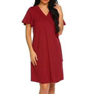 Women Maternity Dresses Summer Bandage Feeding Short Sleeve Casual Elegant Nursing Dress Pregnant Clothes Vetement Femme 19may16