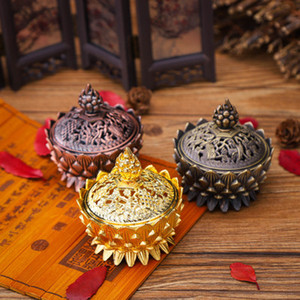Alloy Hollow Cover Aromatherapie-Ofen Lotus Shaped Incense Burners Double Dragon Ear Schätze Füllen Sie die Home Censers EEA419