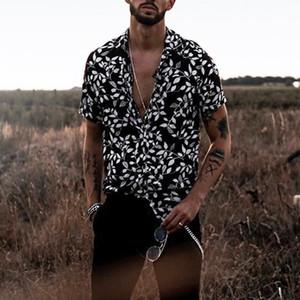 Mens Shirt Summer Black Slim Hawaiian Printed Mens Clothing New Style Short Sleeve Shirt Men Fashion Casual Shirts