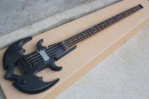 Neu 4 Saiten Matte Black Headless E-Bass mit schwarzer Hardware, 1 Tonabnehmer, Palisander Griffbrett, Angebot anpassen