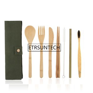 50sts Portable Knife Tuch Natural Resussible Straw Pounch Chopstick Kitchen Utensil Bambo Cutlery Set Knews