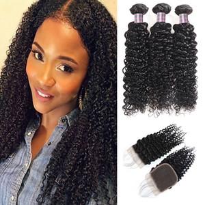 Brésilien Kinky Burly Wave 3 Fonctions de cheveux Humains avec fermeture Vierge Vierge Péruvienne Extensions de cheveux humains ishow Cheveux Wefts Wholesale Prix
