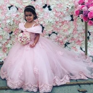 2020 Nuevos vestido de bola de chicas desfile de vestidos elegantes hombros correas Off Apliques Little Flower Girl Dress Kids Para Bodas