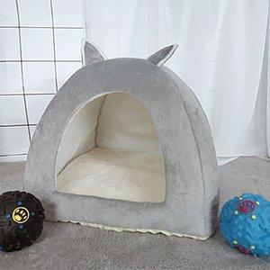 Pet Bed Indoor Kitten Теплого небольшой для кошек Собаки Nest складной Cave Спящей Плюшевых Коврики Soft Cat House T200618