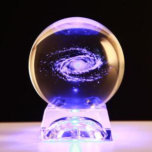 6 см диаметр Глобус Галактика миниатюры хрустальный шар 3D лазерная гравировка кварцевый стеклянный шар Сфера украшения дома аксессуары подарки