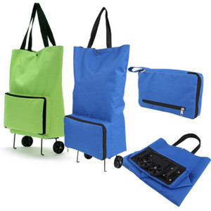 cheap wholesale Oxford cloth portable foldable shopping bag with wheel trolley tug bag