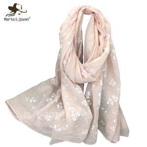MarteJoven Mode Blanc Imprimé Floral Coton Femmes Écharpe Châles Marque Designer Automne Hiver Grande Taille Chaud Pashmina Wraps
