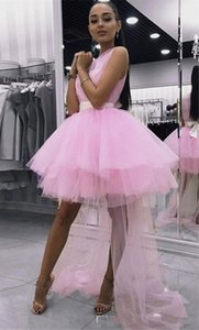2020 Cute Pink High Low Homecoming Party Dresses Tulle Ball Gowns Sheer Neck Bows Pleated Cheap Graduation Prom dress