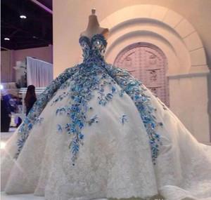 2019 de lujo de encaje de cristal vestidos de novia apliques de novia hermosas perlas iglesia tren barato más tamaño vestidos de bola nupcial Robe De Mariage