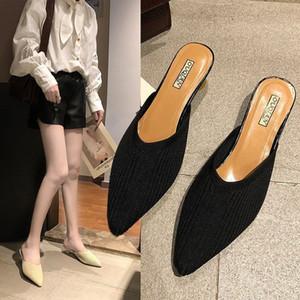 Chaussure Femme Attractive2019 Single Xia Contracté Femme Demi Slipper Fine Avec Chaussures à Talons Hauts Sharp Baotou Sandales