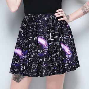 Faamle Повседневная одежда Математическая печать высокой талией Юбка Женская мода плиссированные юбки Sumemr Dark Designer