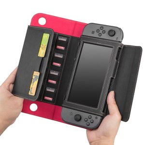 Gamepad Card Holeders Flip Leather Case Wallet Protective Cover for Nintend Switch Accessories Stand Function Joy-Con Case