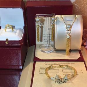 Marque Chaude Pure 925 Bijoux En Argent Sterling Pour Femmes Or Couleur Bijoux De Mariage Ensemble Leopard Collier Boucle D'oreille Anneau Bracelet Ensemble