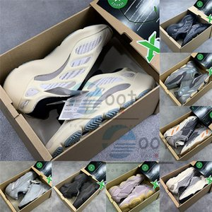 Azael Alvah 700 Teal Mavi Statik Dalga Runner 500 Kemik Tuz Yansıtıcı Siyah Glow In The Dark Kanye West Tasarımcı Sneakers Stockx Ayakkabı Koşu