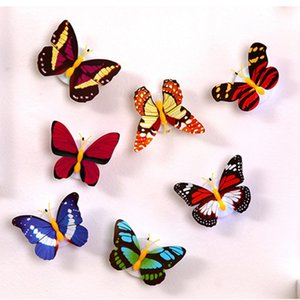3D LED Seven Colored Self-adhesive Butterfly Wall Stickersight Lights Wall Decal Light Home Room Decoration Random ZL