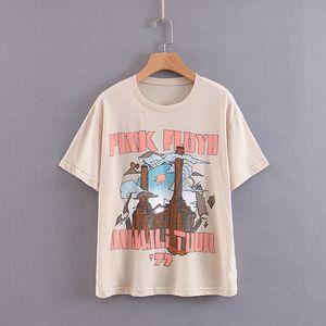 Las mujeres de Boho camiseta beige retro camiseta del verano de América banda de punk rock de Bohemia mujeres de la camiseta de manga corta ronda camiseta de cuello Casual Tops 2019 nueva