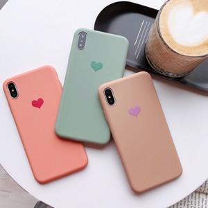 Parejas amor del corazón del color del caramelo de silicona suave caja del teléfono mate para iphone 8 plus 6 6 s 7 x x s max xr moda contraportada sólida