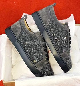 Special Offer 2019 Suede & Black Rhinestone Strass Red Bottom Shoes Men Women's Flat Red Sole Shoes Low top Sneaker Lace-up Casual Shoes