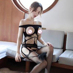 Носки Hosiery 2021 полый открытый бюстгальтер порно женщины сексуальное женское белье промежность тела сетки сетки рыболовные плюс размер колготки строп