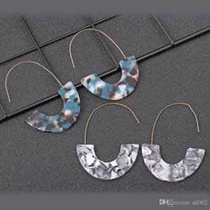 En forma de U leopardo gota para el oído 8 estilos acrílico señoras de lámina de acetato gota partido de la joyería pendientes de la manera del favor de 2 E1 8XY