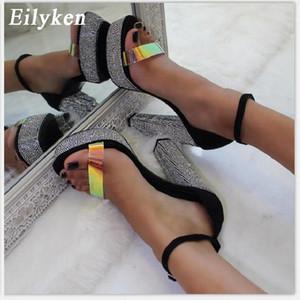 Eilyken 2020 Fashion PVC Women Sandals Summer Platform Open Toed Rhinestone Thick High Heels Ankle Buckle Strap Discount Shoes MX200407