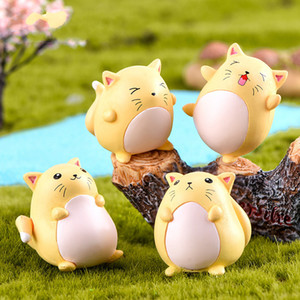 Sevimli Hayvan Dekor Şişman Sarı Kedi Minyatür Heykelcik Mikro-peyzaj PVC Süs Craft Bitki Pot Bonsai Kaktüsler Aksesuar DIY Peri bahçe